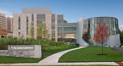 Front view of the Jackson Laboratory for Genomic Medicine on a Sunny Day